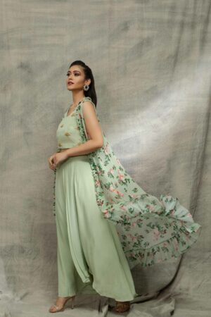 Pastel green crop top with drape skirt