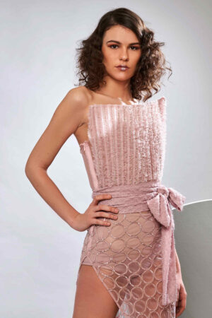 Mellow rose tulle dress with bodysuit