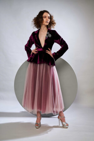 Mellow rose and plum velvet jacket with tulle