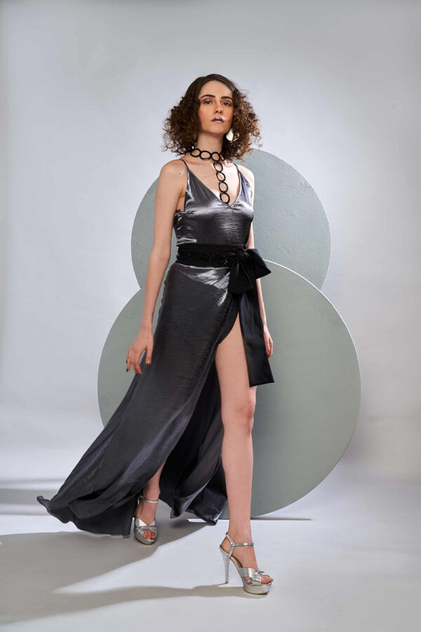 Metallic silver camisole with skirt