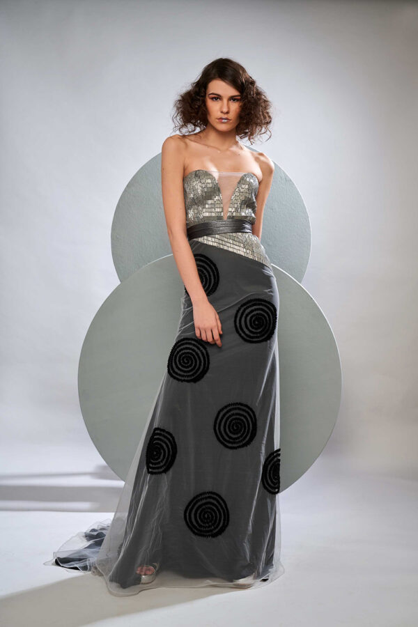 Grey and black metallic tulle gown