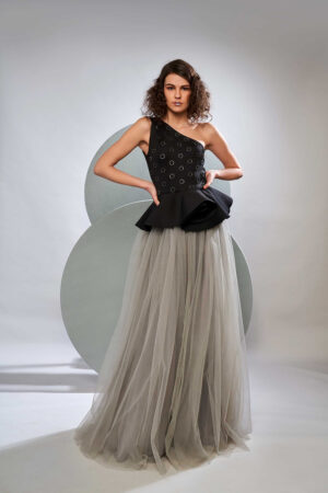 Grey and black peplum gown