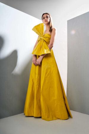 Neon Yellow bowed gown