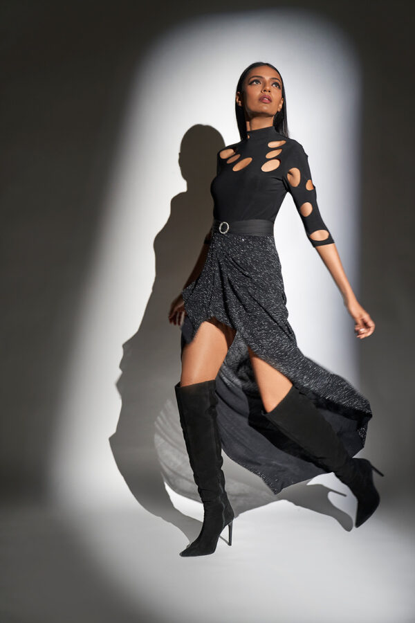 Black laser cut top with skirt