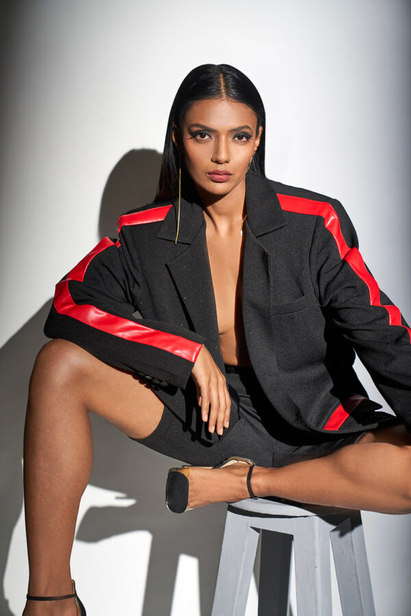 Black and red blazer with bike shorts