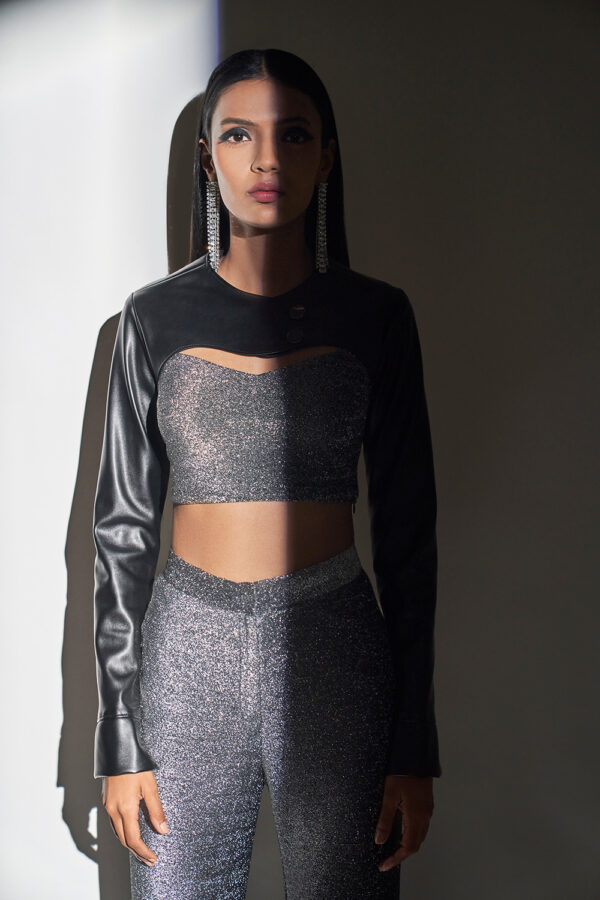 Metallic silver and black Lycra crop top and pant