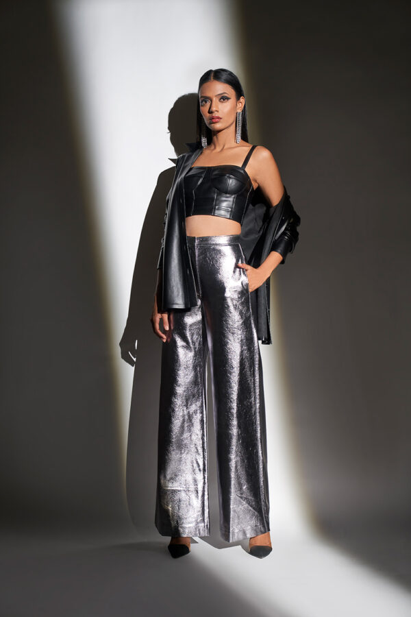 Metallic silver and black bustier and pants