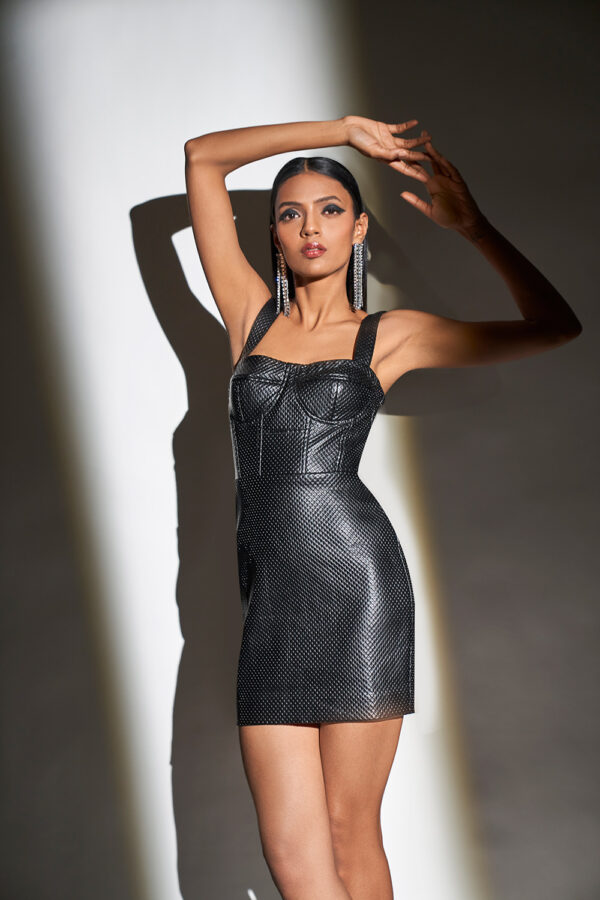 Black faux leather bustier bodycon