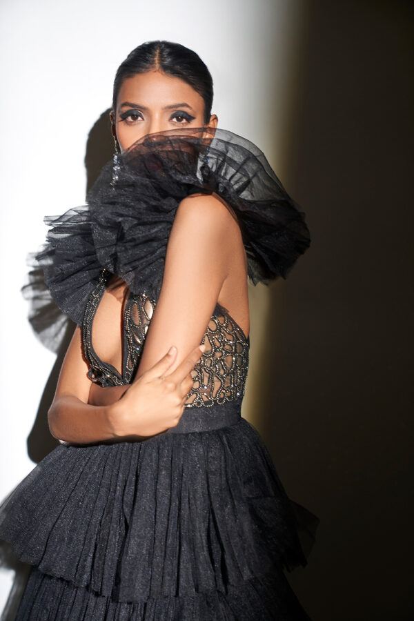 Black tulle gown