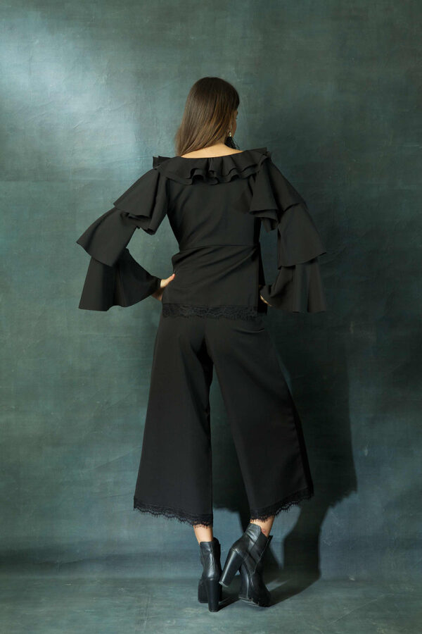 Black ruffled top with pants