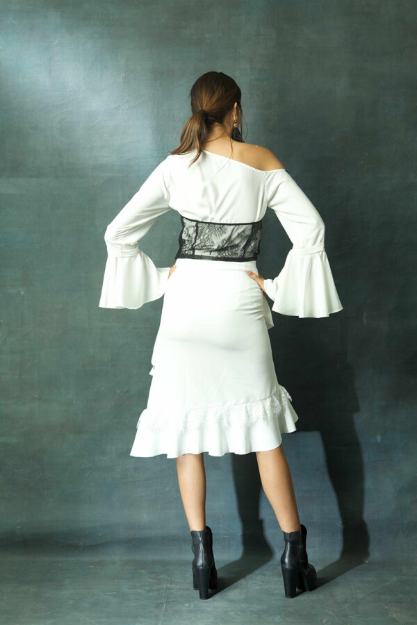 White off shoulder top with ruffled skirt