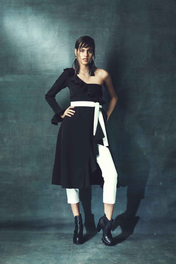 Black and white long top and pants
