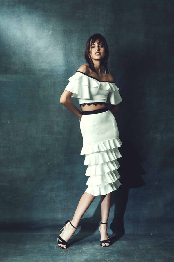 White crop top with skirt