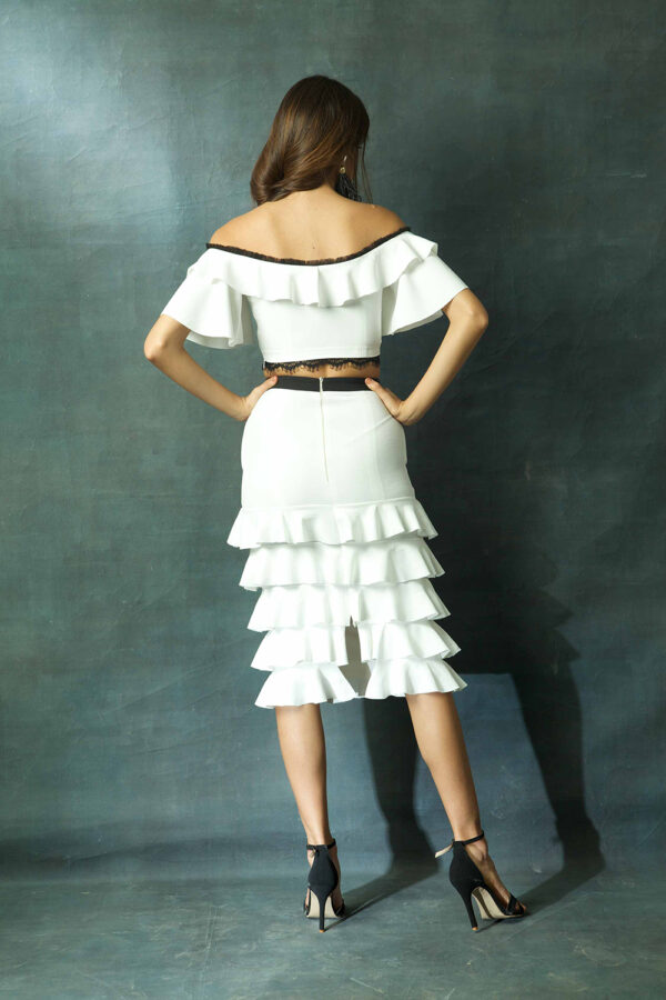 White crop cop with skirt