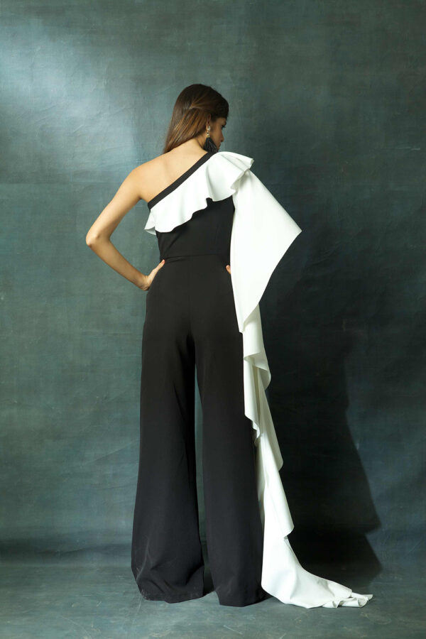 Black and white ruffle jumpsuit