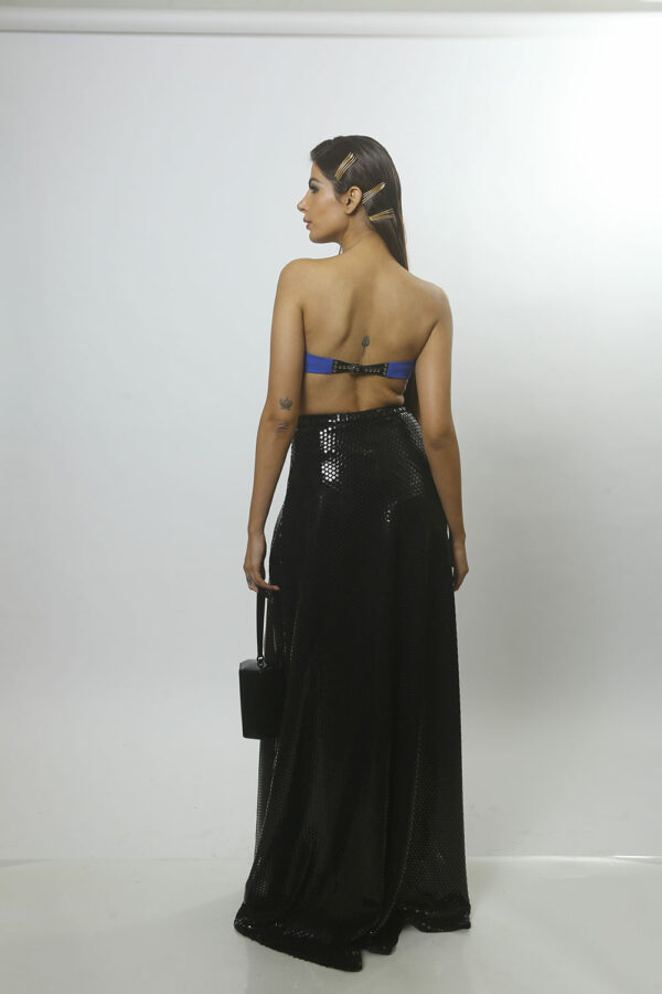 Classic blue top with drape skirt